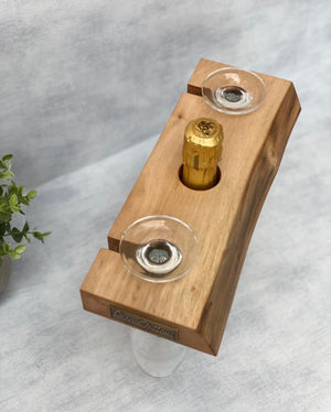 Prop Options English walnut champagne butler - champagne caddy - top view
