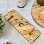 Prop Options luxury spalted beech wine butler and wine caddy - natural without wine and glasses