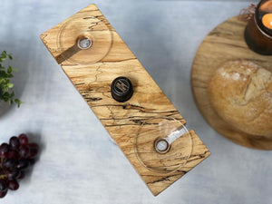 Prop Options luxury spalted beech wine butler and wine caddy up close showcasing stunning spalted detailing
