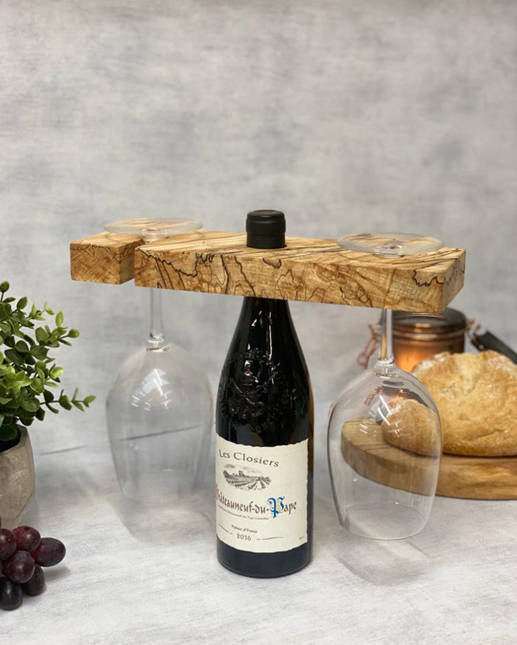 Prop Options luxury spalted beech wine butler and wine caddy