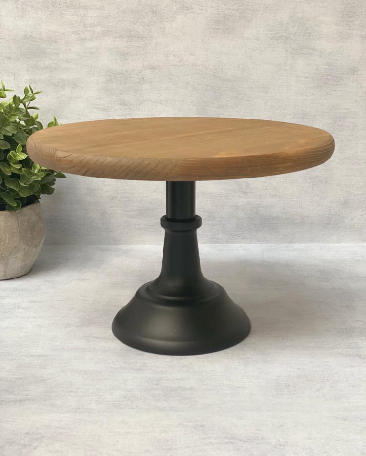 Prop Options height adjustable cake stand Black metal pedestal with wooden top plate with extension