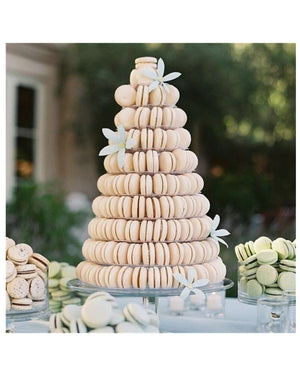 Prop Options stunning 10 tier adjustable macaron tower stand displaying cream and green macarons