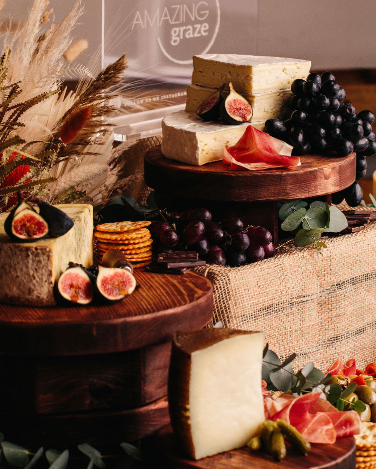 Prop Options Rustic olive wooden round cheese board Amazing Graze