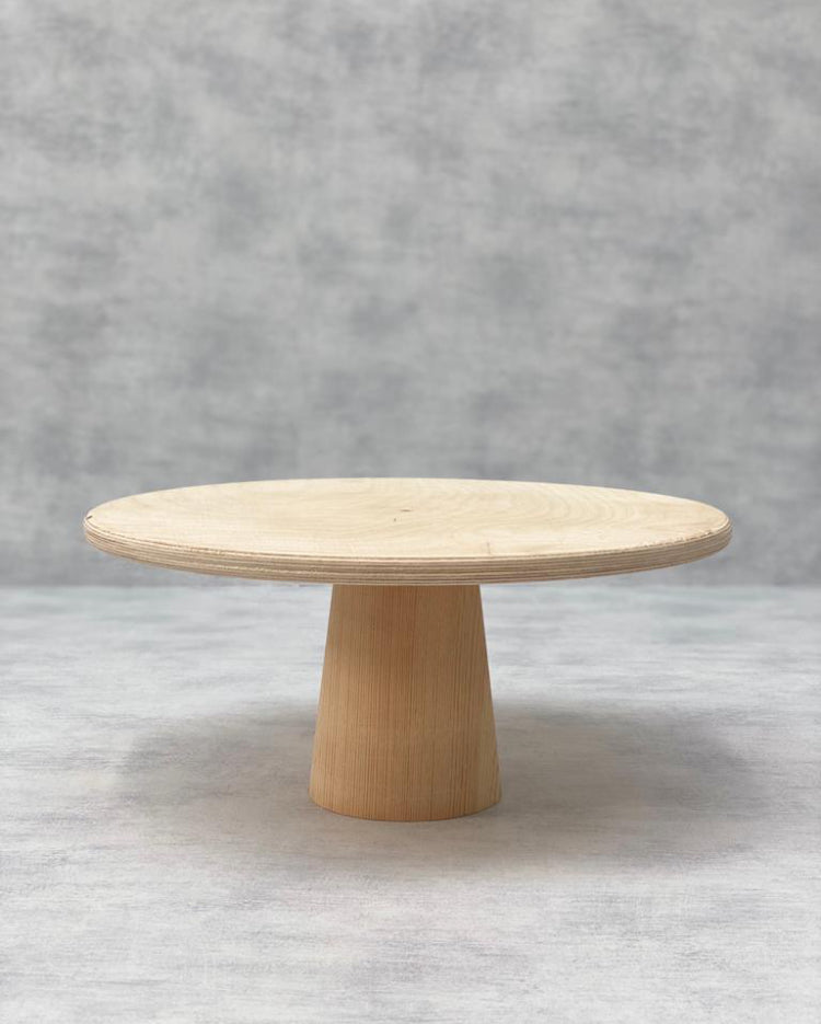 Prop Options Scandinavian Birch cake stand with cone pedestal in natural