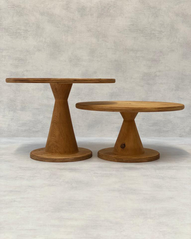 Prop Options Scandinavian Birch cake stand with Burley pedestal in light height comparison