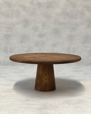 Prop Options Scandinavian Birch cake stand with cone pedestal in dark