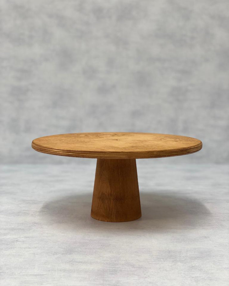 Prop Options Scandinavian Birch cake stand with cone pedestal in light