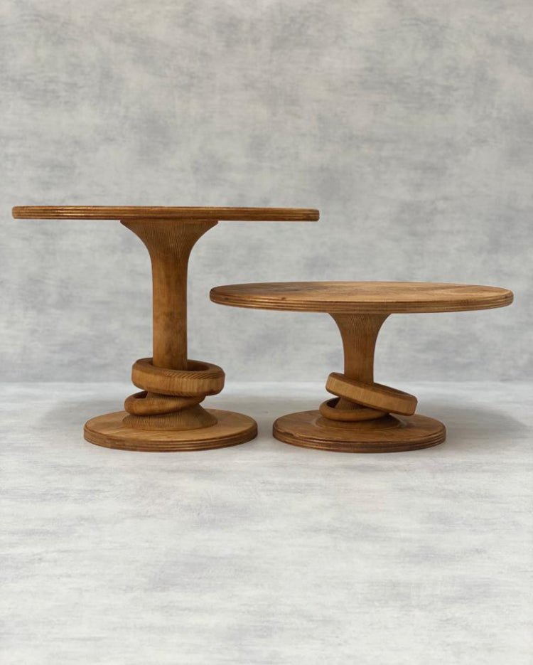 Prop Options Scandinavian birch stand with eternity hourglass pedestal in light, tall versus standard