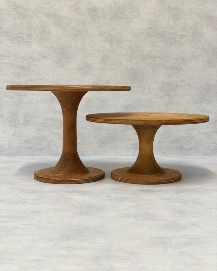 Prop Options Scandinavian Birch cake stand with hourglass pedestal in light - height comparison