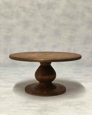 "Prop Options Scandinavian Birch cake stand with teardrop pedestal in dark 6"" standard"