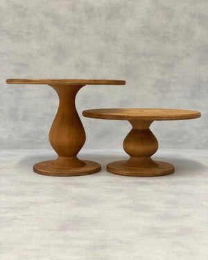 Prop Options Scandinavian Birch cake stand with teardrop pedestal in natural, height comparison