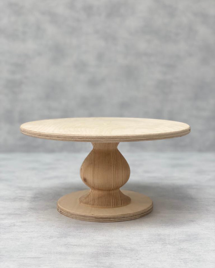 Prop Options Scandinavian Birch cake stand with teardrop pedestal in natural standard