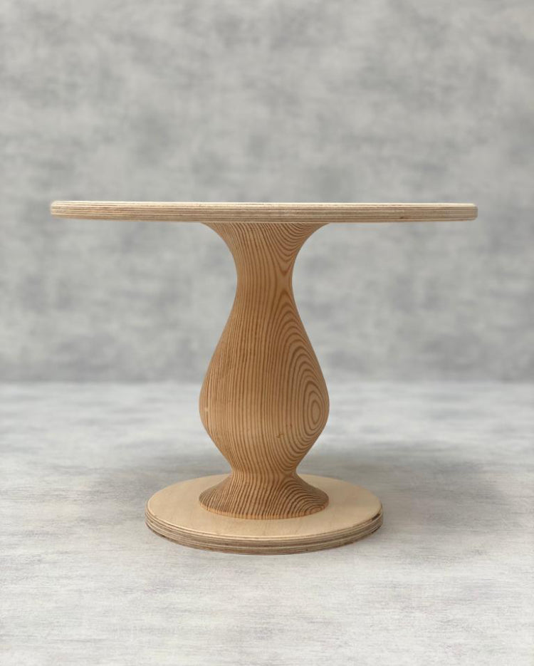 Prop Options Scandinavian Birch cake stand with teardrop pedestal in natural tall