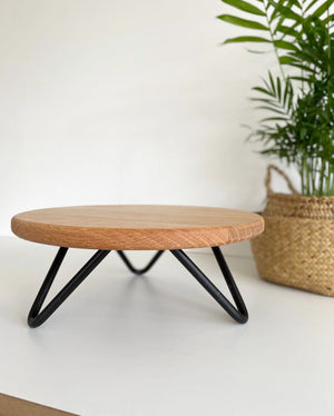 "12"" Solid oak cake stand with black hairpin legs"