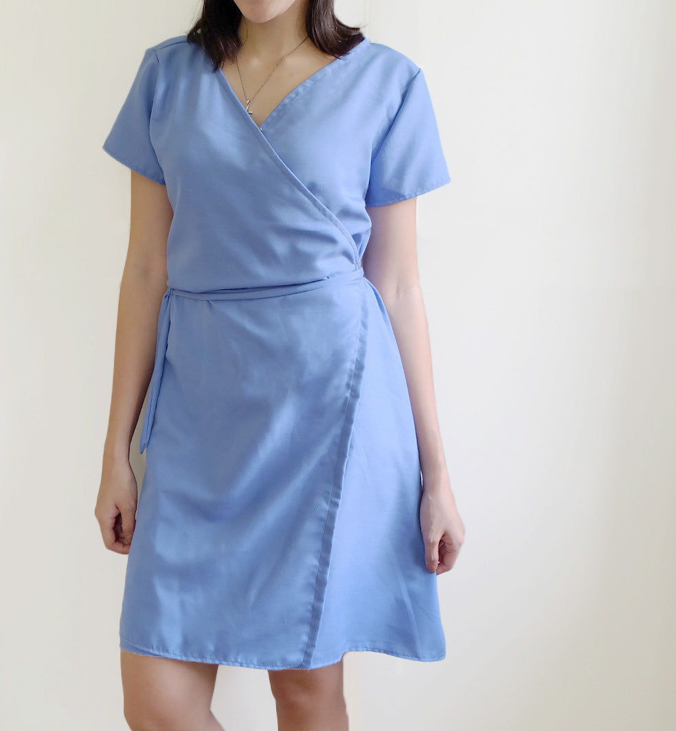 Classic Wrap Dress in Sky Blue