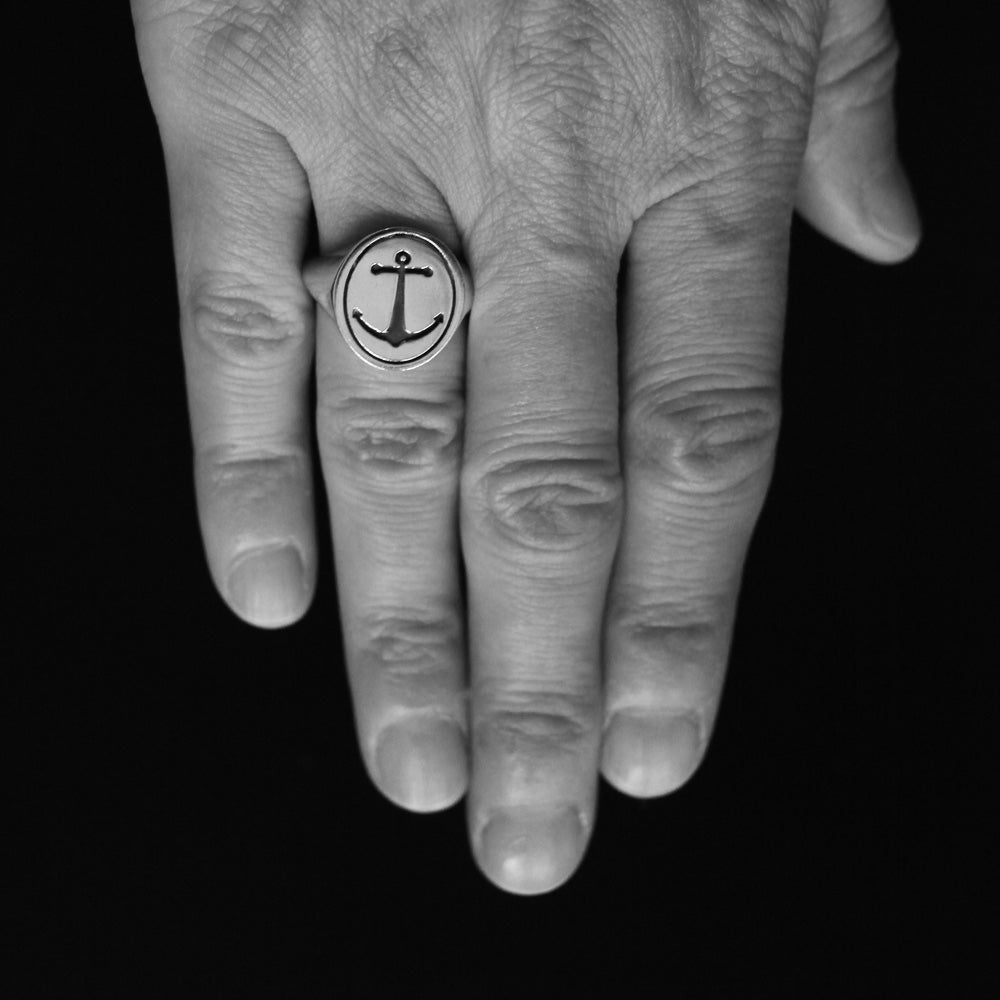 Silver Anchor Signet Ring