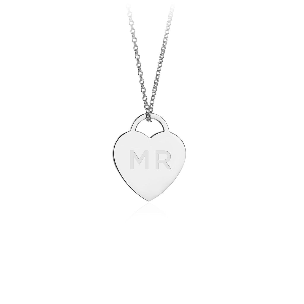 Silver Personalised Heart Pendant Necklace