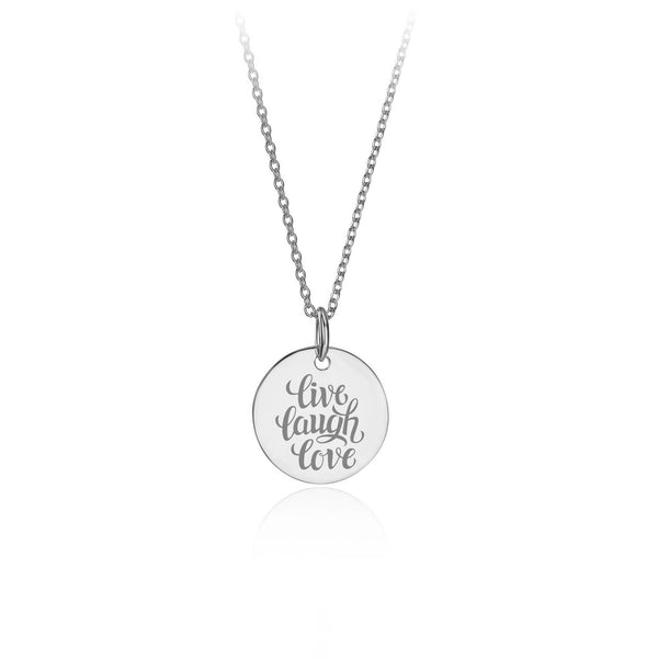 Silver Round Live Laugh Love Pendant