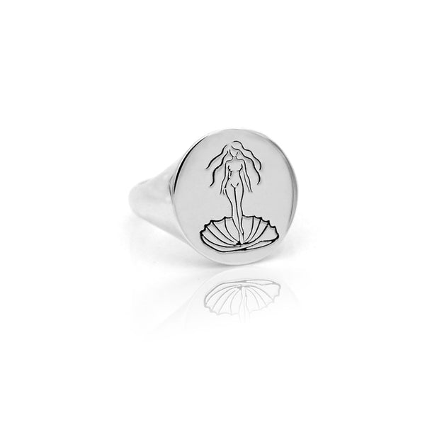 Silver Aphrodite Signet Ring