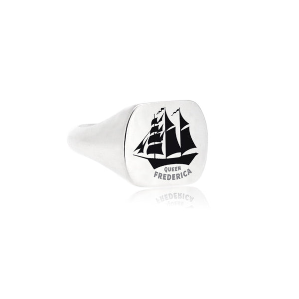 Silver Ship Signet Ring