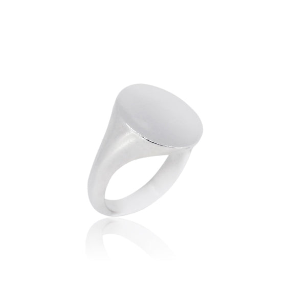 Silver Personalised Oval Signet Ring