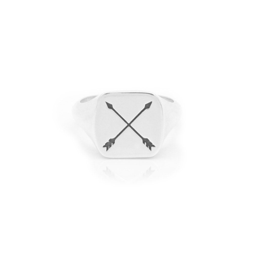 Silver Crossed Arrows Signet Ring
