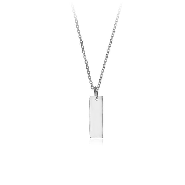 Silver Personalised Rectangle Pendant Necklace