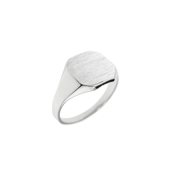 Silver Personalised Square Corner Signet Ring