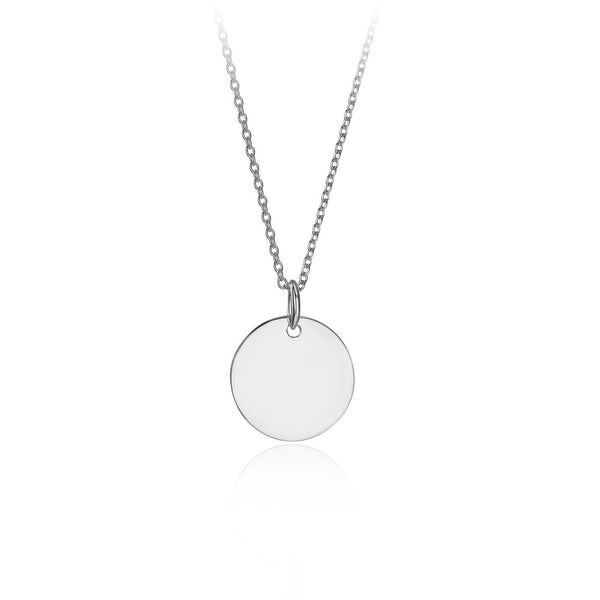 Silver Large Round Personalised Pendant