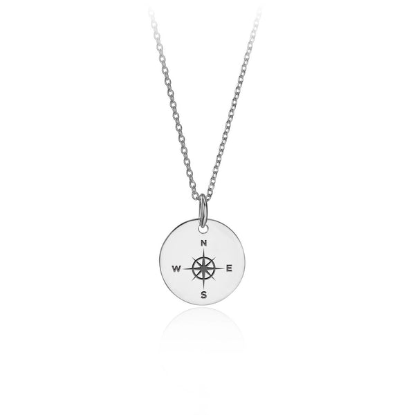 Silver Round Compass Pendant