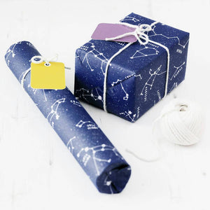 Blue Star Constellations Educational Gift Wrap Set - Newton and Apple