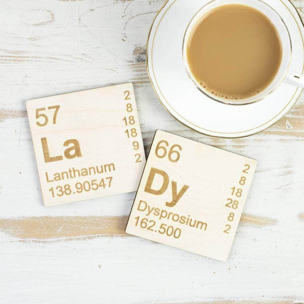 Periodic Table Wooden Coasters Set - Newton and Apple