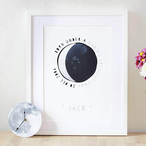Personalised New Baby Moon Phase Print - Newton and Apple