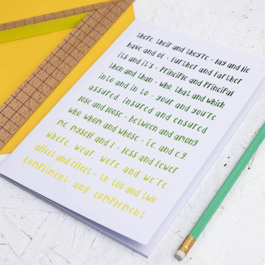 Ombre Green Grammar Rules Notebook - Newton and Apple