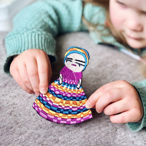 Embroidered Guatemalan Worry Doll Iron-On Patch - Newton and Apple
