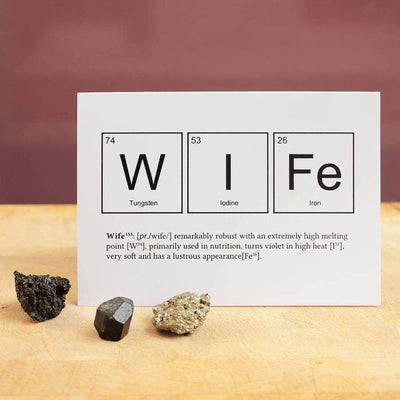 Wife periodic table elements funny anniversary card newton and apple wife periodic elements funny anniversary card urtaz Image collections