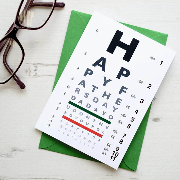 Father's Day Funny Eye Chart Card - Newton and Apple