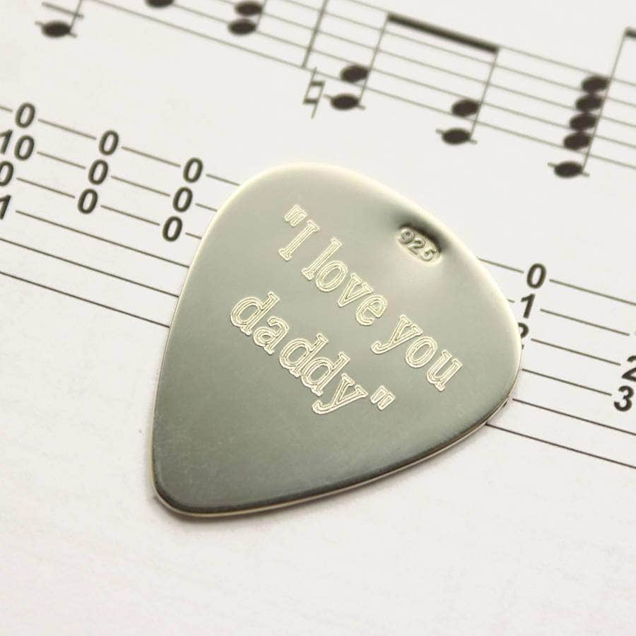 Personalised Sound Wave Sterling Silver Guitar Pick - Newton and Apple