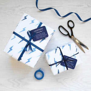 Blue Lightning Watercolour Wrapping Paper Set - Newton and Apple