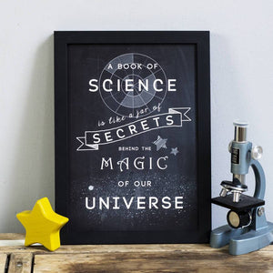 'A Book of Science...' Chalkboard Print