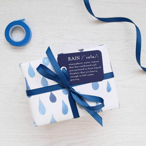Watercolour Blue Rain Wrapping Paper Set - Newton and Apple