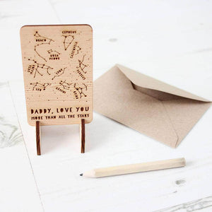 Wooden Father's Day Constellations Card - Newton and Apple