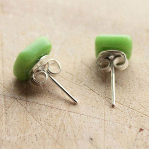 Geometric Square Glass Stud Earrings - Newton and Apple