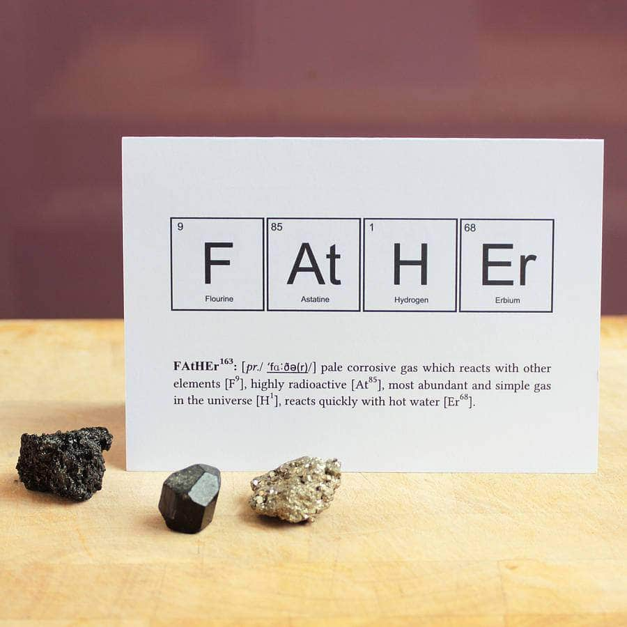 Periodic table elements fathers day funny science card newton and periodic table fathers day humourous science card newton and apple urtaz Image collections