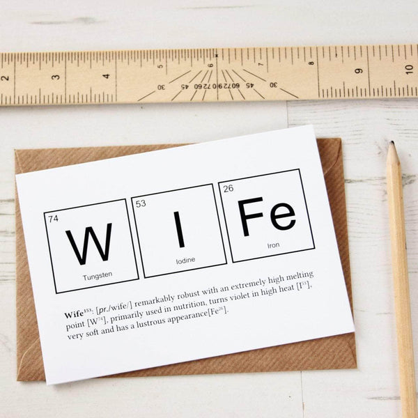 Wife Periodic Elements Funny Anniversary Card - Newton and Apple