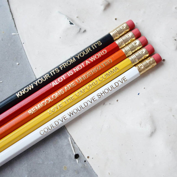 Ombre Red Grammar Pencil Set - Newton and Apple