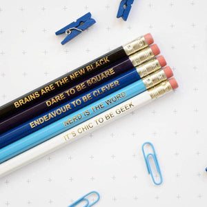 Ombre Blue Geek Pencil Set - Newton and Apple
