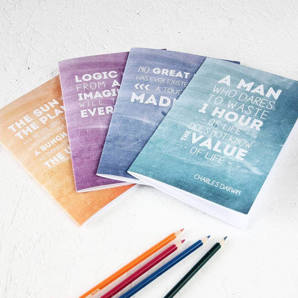 Famous Scientist Inspirational Quotes Notebook Set - Newton and Apple