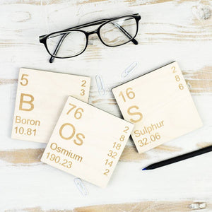 Boss Periodic Table Wooden Coasters Set - Newton and Apple