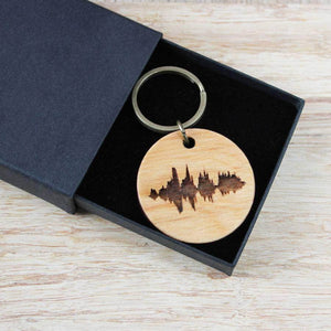 Personalised Your Voice Wooden Keyring - Newton and Apple